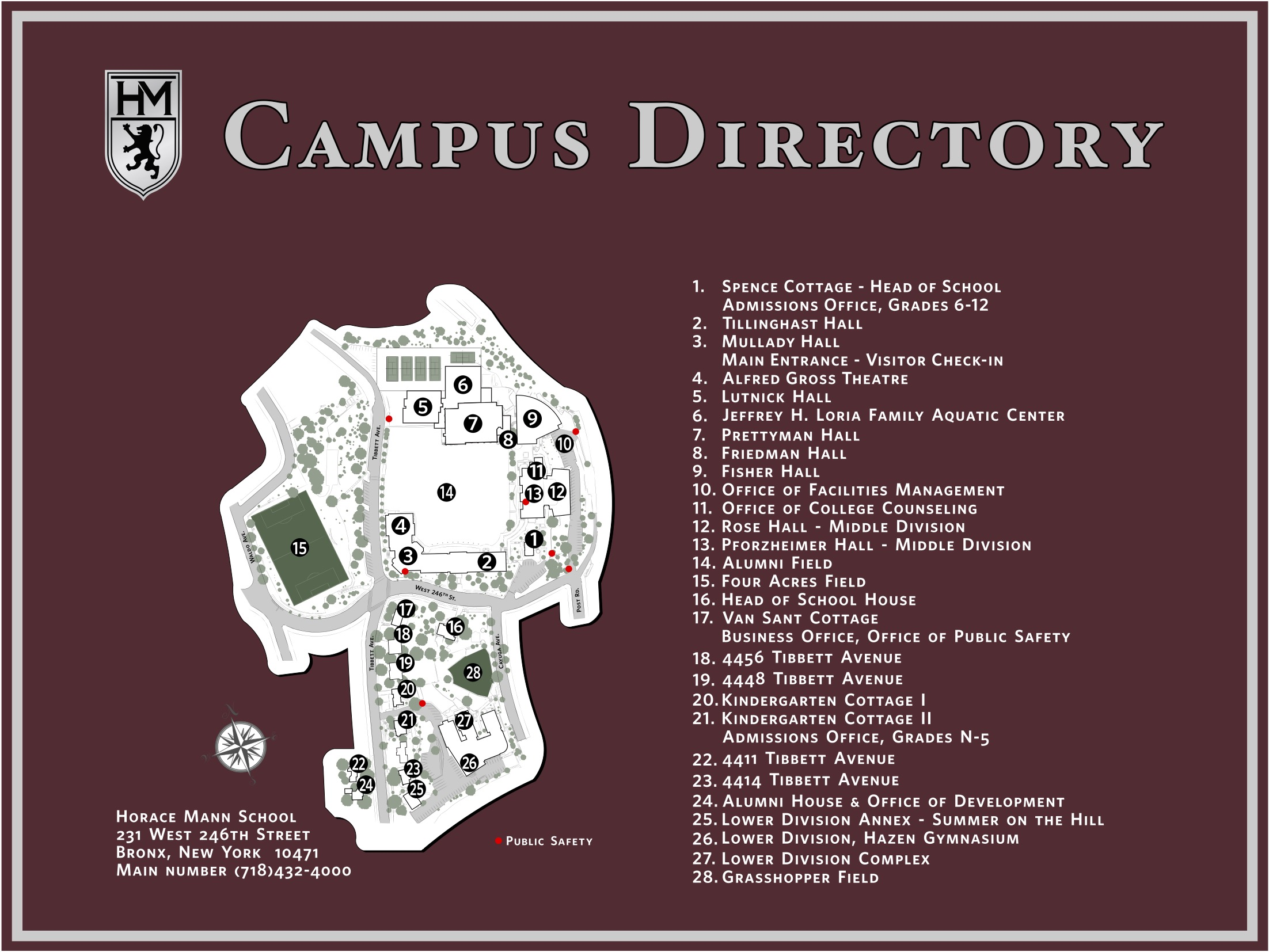 The New School Campus Map.Horace Mann School Visit Us Middle Upper Divisions